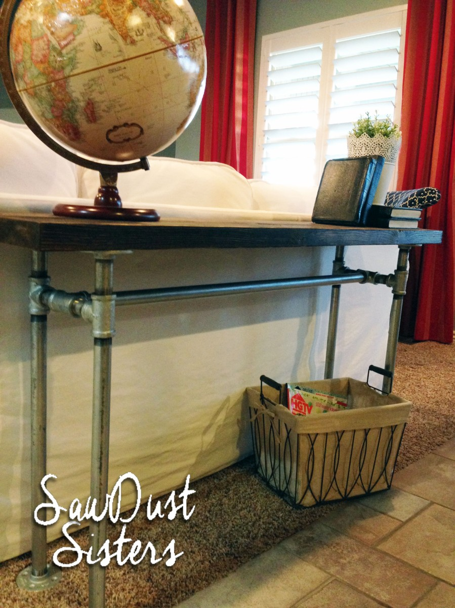 Easy diy sofa table with pipe frame sawdust sisters for Sofa table tutorial