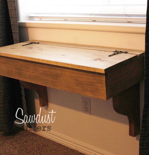 DIY Floating Desk/Vanity with storage. Tutorial by sawdustsisters.com