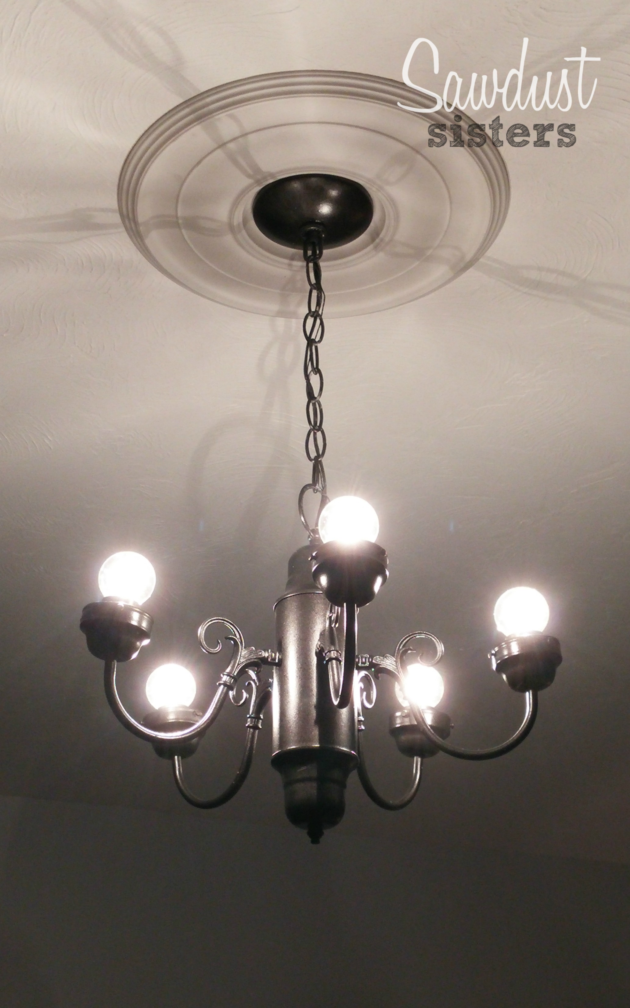 Diy simple chandelier makeover sawdust sisters simple 5 chandelier gets a makeover aloadofball Image collections